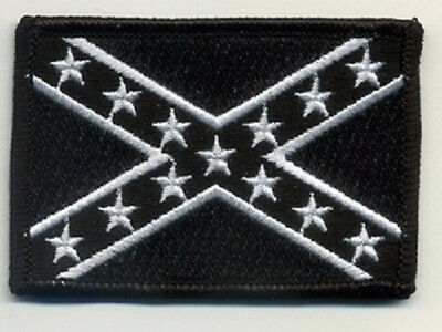 LOT OF 5 - CONFEDERATE BATTLE FLAG BLACK AND WHITE BIKER PATCH