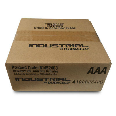 100 Duracell INDUSTRIAL AAA Alkaline Batteries LR03 MN2400 Replaces Procell AAA