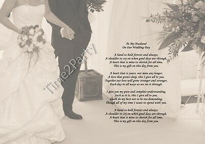 A4 To My Husband On Our Wedding Day Poem Gift Groom From Wife