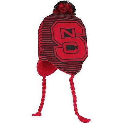 NC State Wolfpack knit tassel winter hat Adidas NWT North Carolina St Pack NCAA