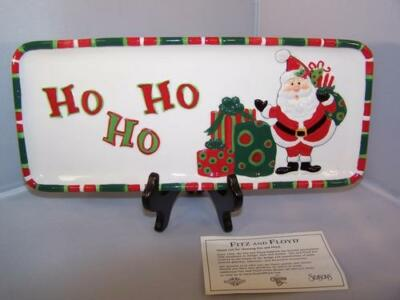 """Fitz & Floyd Holiday Home """"THAT""""S A WRAP"""" Elongated Tray Santa Christmas Serving"""