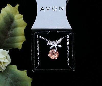 Pretty! Silvertone Pink & Rhinestone AVON DRAGONFLY DANCE NECKLACE New In Box!