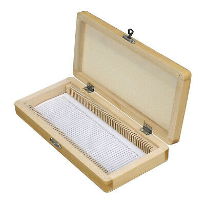 AmScope PS50-WB Microscope Slide Wooden Box Holding 50 Piece Slides