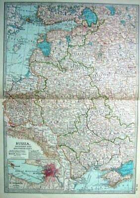RUSSIA IN EUROPE WEST & SOUTH 1903 original antique map