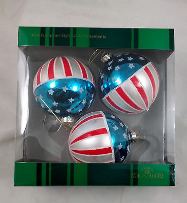 USA FLAG Americana Glass Ball Ornaments Set of 3 NEW IN BOX Patriotic 4th July
