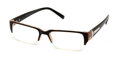 Black Brown Translucent Classic Half Frame Clear Lens Glasses with Temple Accent