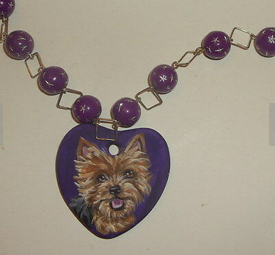 Yorkshire Terrier Yorkie Dog Hand Painted Pendant Beaded Necklace