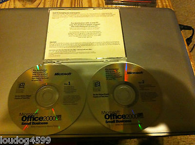 Microsoft Office 2000 Small Business 2 CD's With Product Key Fast Free Shipping!