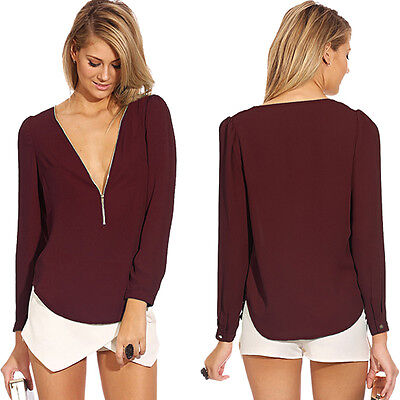 Fashion Sexy V-neck Women Tops Long Sleeve Shirt Casual Blouse Wine Red T-shirt