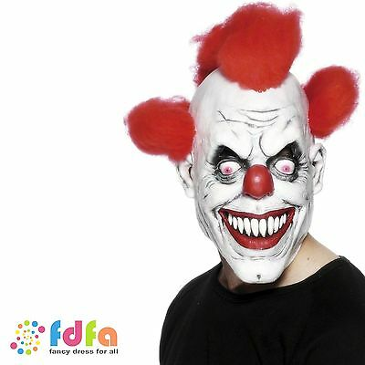WHITE SCARY CLOWN OVER HEAD MASK WITH HAIR LATEX mens halloween fancy dress
