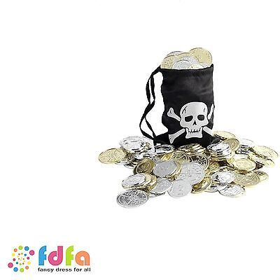 BLACK PIRATE COIN BAG + COINS CARIBBEAN TREASURE - fancy dress boys girls prop