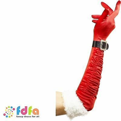 LONG RED SANTA MRS CLAUS GLOVES WITH BELT ladies womens xmas fancy dress costume