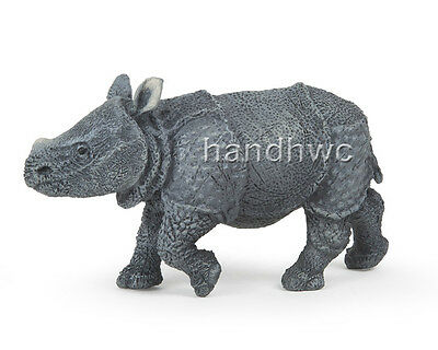 Papo 50148 Indian Rhinoceros Calf Model Animal Replica Toy Rhino  - NIP