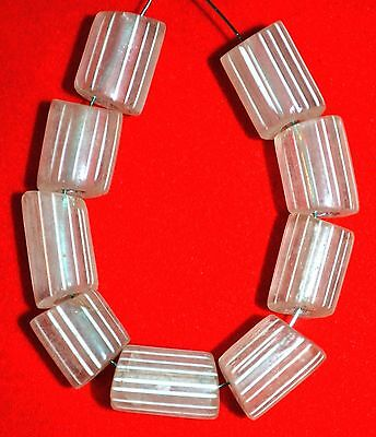 Antique Venetian Drawn Gooseberry Clear Glass Beads Stripes From African Trade
