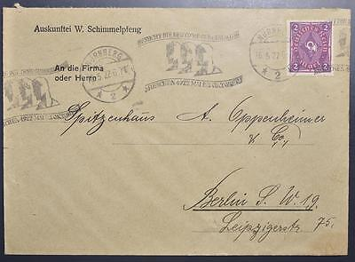 GERMANY 1922 GOOD Trade EXPO Slogan Pic Pmk on Inflation Cover NÜRNBERG   BERLIN