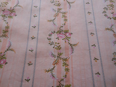 Antique Vtg. Roses Stripe Shabby French Cottage Cotton Fabric ~ peach pink blue
