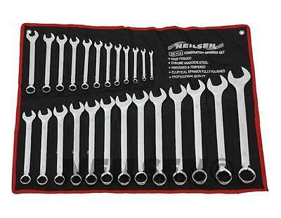 25pc Metric Combination Combo Ring Open Ended Spanner Garage Tool Set 6-32mm New