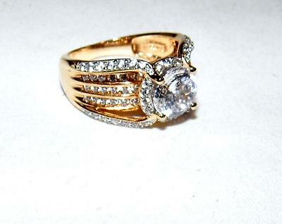 VICTORIA WIECK ABSOLUTE 4.63 ct BRIDGE RING - GOLD OVER STERLING  - SIZE 10