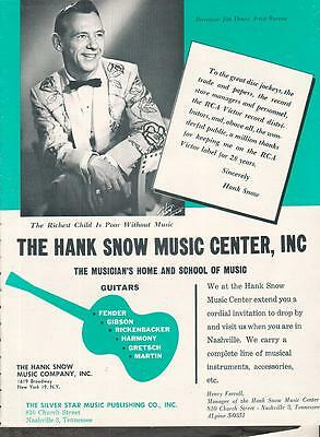 The Hank Snow Music Center 1964 Ad- thanks for 28 years on RCA Victor