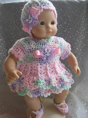Adorable DRESS, HAT & SHOE Set for AG Bitty Baby - Easter - Hand Crocheted