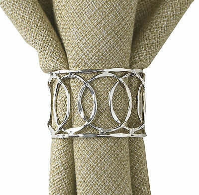 Silver Loop Napkin Rings by Park Designs, Choose Set, Classic Look for Any Decor