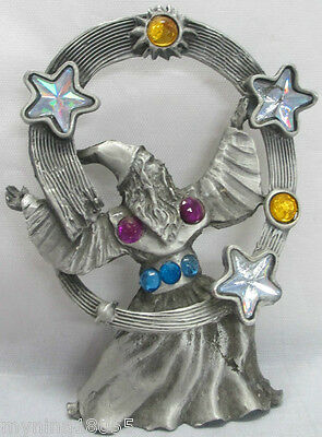 Pewter Miniature Wizard with Stars Sun & Circles