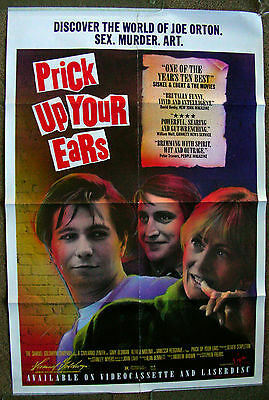 PRICK UP YOUR EARS - GARY OLDMAN - 27x40 - VINTAGE 1988 VIDEO POSTER!