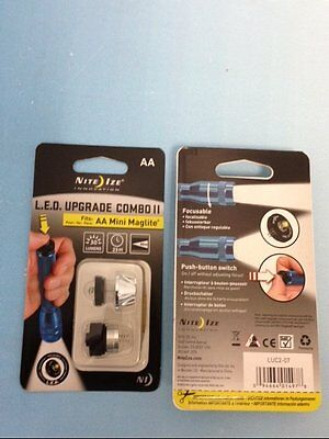 AA MINI MAG-LITE FLASHLIGHT LED UPGRADE BULB and TAIL SWITCH NITE IZE 30 LUMENS