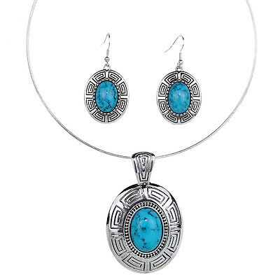 Generous Tibetan Silver Oval Blue Turquoise Rims Earrings Necklace Removable Set