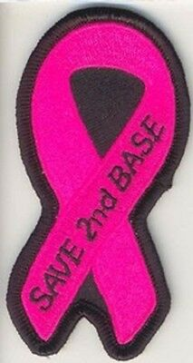 LOT OF 5 - SAVE 2ND BASE PINK RIBBON - BREAST CANCER BIKER PATCH
