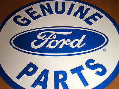 "Ford Genuine Parts New 12"" Round Tin Sign"