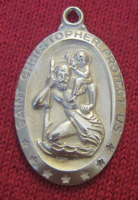 Vintage Catholic Religious Holy Medal - STERLING CF - Saint Christopher