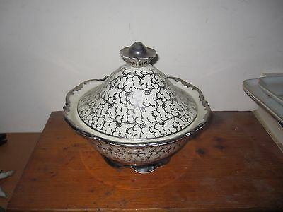 Mitterteich Bavaria Germany Covered Serving Bowl Dish White/Silver Taureen