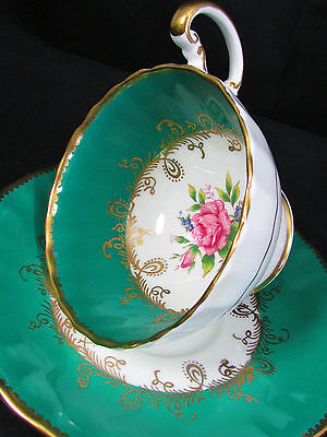 AYNSLEY PINK ROSE FANCY GOLD GREEN OBAN TEA CUP AND SAUCER