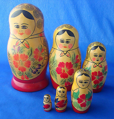 Russian Nesting Dolls 6 pc Old Matryoskka Babushka turned wood hand painted