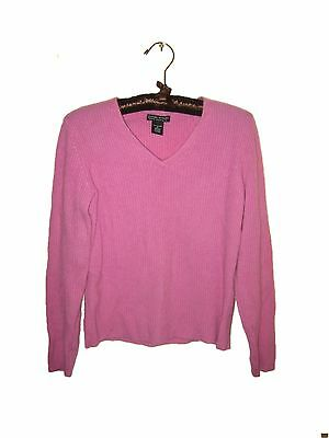 Sexy ribbed hot bright pink 100% cashmere Daniel Bishop v neck sweater, s