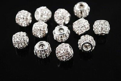 10pcs 12mm Crystal Rhinestone Charms Hollow European Spacer Metal Beads Silver