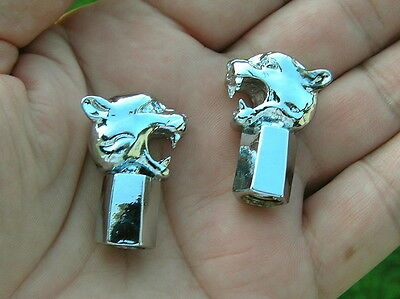 ~ WILD CAT CHROME TYRE VALVE CAPS PAIR Badge Emblem *NEW* Fits HARLEY DAVIDSON