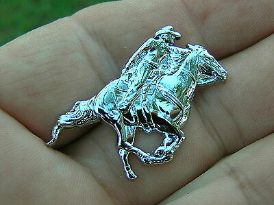 ~ HORSE ROPING RIDING CHROME LAPEL PIN Badge *HIGH QUALITY* Equestrian Rider