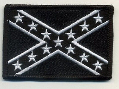 LOT OF 3 - CONFEDERATE BATTLE FLAG BLACK AND WHITE BIKER PATCH