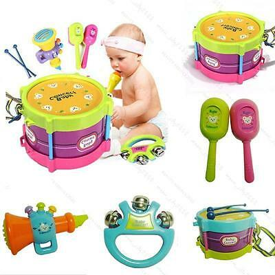 New Boy and Girl  5Pcs Drum Musical Instruments #B Band Kit Kids Toy Gift Set