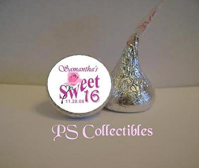 108 PERSONALIZED SWEET SIXTEEN 16 BIRTHDAY PARTY TREAT BAG KISS LABELS FAVORS