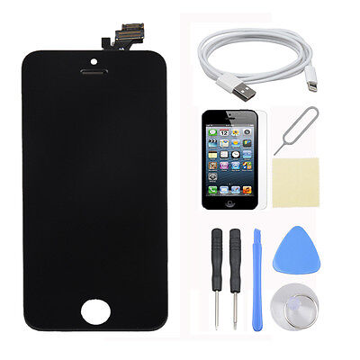 Black LCD Touch Screen Digitizer Glass Assembly+USB Cable for iPhone 5 USA