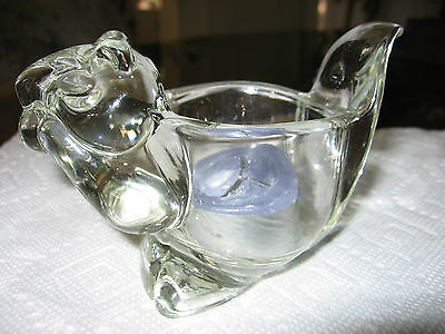 Avon Clear Glass Squirrel Candle Holder. Excellent Cond.Candle Included