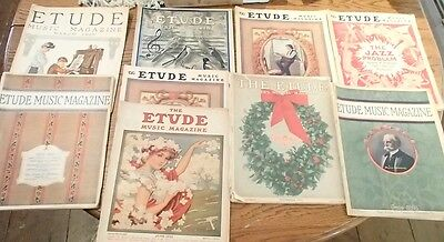Etude The Music Magazine 1921-1922-1923-1924  Lot of 9 Issues in Fair Condition