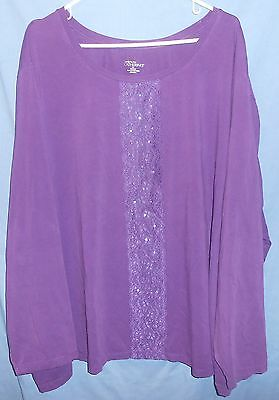 Liz & Me Catherines Purple Lace Sequine Cotton Spandex Knit Tee Shirt 5X 34/36 W