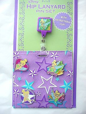 """Disney's TINKERBELL """"HIP LANYARD""""  with Retractable Clip and Pins"""