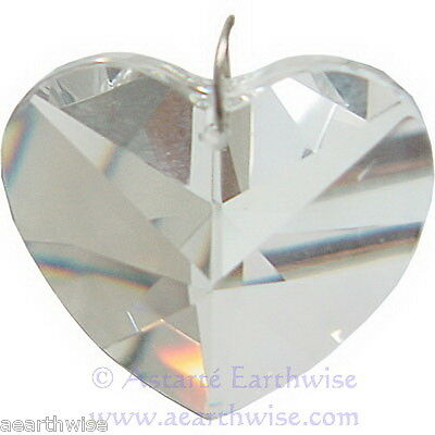 HEART CRYSTAL PRISM 40mm SUN CATCHER CRYSTAL CUT Wicca Witch Pagan Goth RAINBOWS