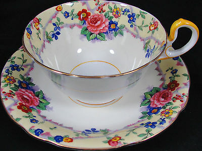 AYNSLEY MELROSE CREAM ROSES FLORAL TEA CUP AND SAUCER 5 SETS
