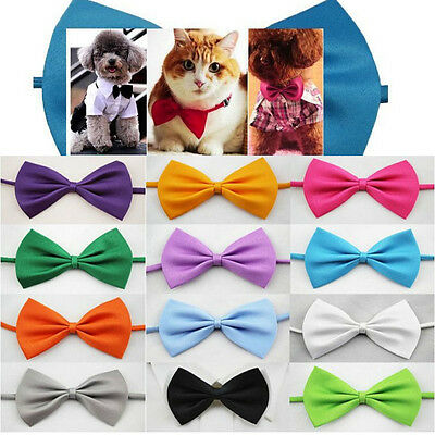 2X Cute Small Clip Dog Cat Pet Puppy Bowtie Necktie Tie Collar Bow Clothes out